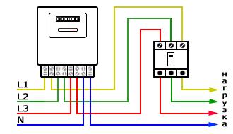 Схема прямого включения трехфазного счетчика