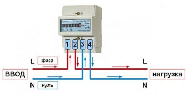 схема подключения электросчетчика однофазного