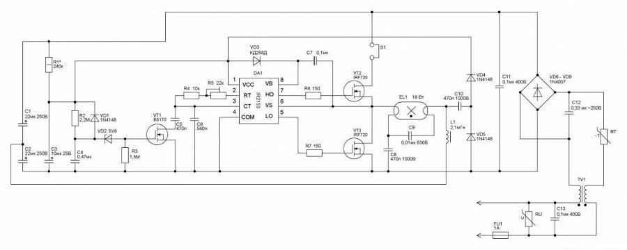 бесстартерная схема включения люминесцентных ламп