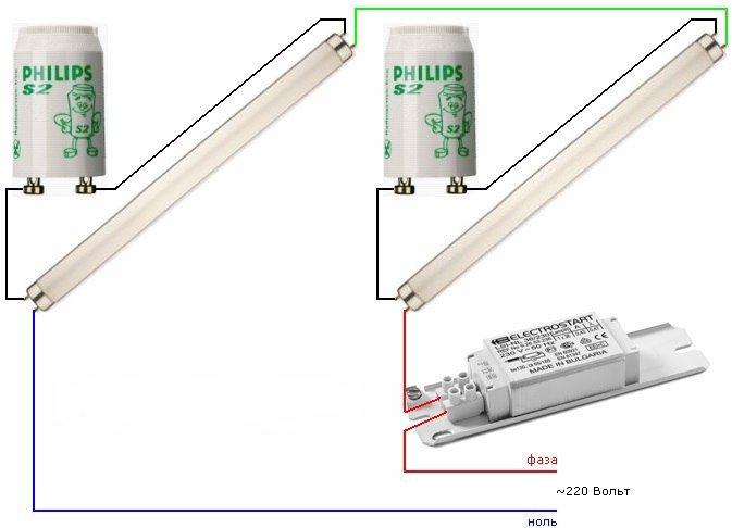 двухламповая схема подключения люминесцентных ламп