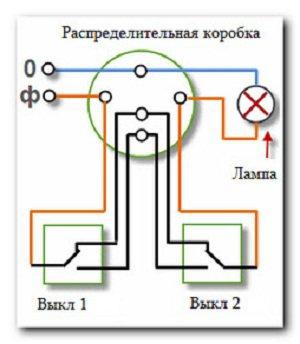схема подключения двух одноклавишных проходных выключателей
