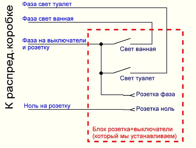 схема подключения выключателя и розетки