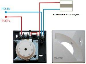 подключение инфракрасного обогревателя через терморегулятор