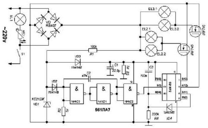 управление люстрой по двум проводам схема