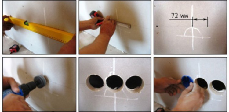 Процесс установки подрозетника