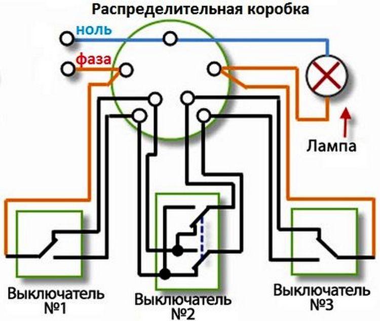 Особенности подключения  переключателей  из нескольких мест