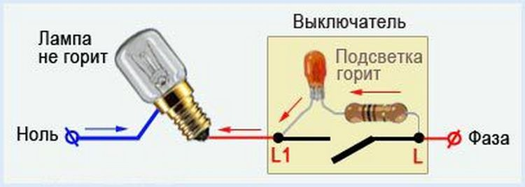 Схема подключения коммутатора с подсветкой